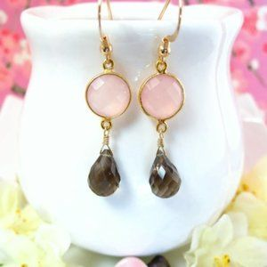 Rose quartz bezel smokey quartz gold earrings